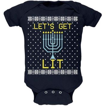 ESBGQ9 Menorah Get Lit Ugly Hanukkah Sweater Soft Baby One Piece