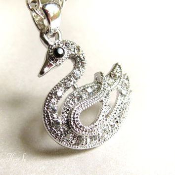 Swan Necklace Silver Rhinestone Bird Necklace Rhinestone Pendant