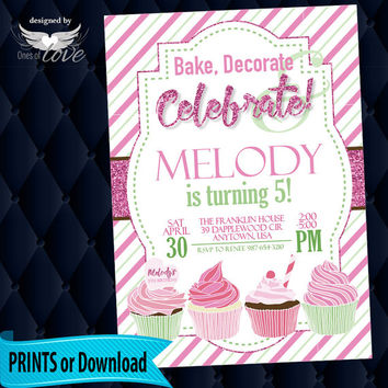 Cupcake Party Birthday Invitation | Printed Invitation | Pink and Green | Printable Invitation | Girls Party | Party Invite | Baking Party