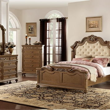 5 pc Palisades II collection medium brown finish wood with tufted headboard queen bedroom set