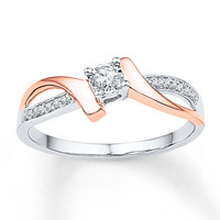 Promise Ring 1/10 ct tw Diamonds Sterling Silver/10K Gold
