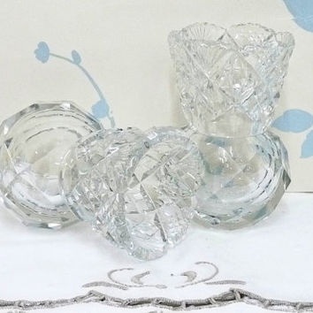 Pair of Crystal Glass Vases, Toothpick Holders, Small Vase, Cut Glass Vase, Mini Vase, Posy, Flower arranging, Home and Living, V0436