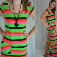 MOD 60s Neon Stripe Kangaroo Pocket Terry Cloth Vintage Maxi Dress Chantel Of Calif Bullocks Wilshire