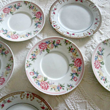 Shabby Chic China Cake Plates, Mismatched Saucers,Dessert Plates,Pink Roses Teaparty China,Mismatched China Wall Plates Set of Six