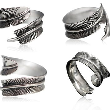 925 Sterling Silver Retro Indian Feather Open Ring Adjustable Size Men's Jewelry