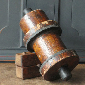 Vintage Industrial Wood Mold, Foundry, Natural Dark Wood, Cylindrical, Urban Rustic, Home, #68-49