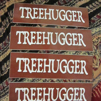 Set of 4 Treehugger Ministickers. Great Bike, Helmet or Bumper Stickers for Environmentally Friendly Folks.