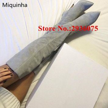 Hot Gray Suede Leather Thigh High Sexy Women Boots Pointed Toe Stiletto Heels Stretch Slim Ladies Long Boots Over The Knee Boots