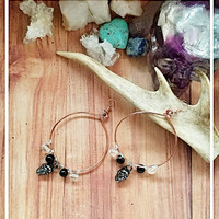 Copper Hoop Wire Wrapped Earrings with Skull Dangles and Black and Clear Glass Beads