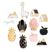 2017 Cartoon Enamel Pins Fruit Pineapple Apple Brooches Pin Badges Cute Metal Animal Horse Brooches Pins For Women