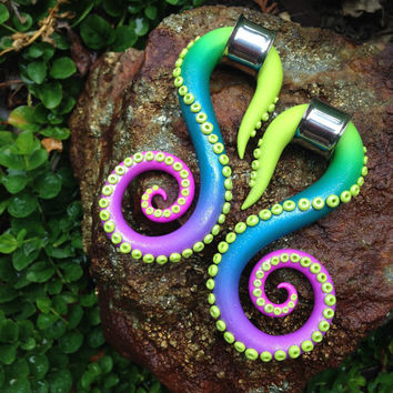 Ombre Swan Tentacles - Earrings for Stretched Lobes - Gauges