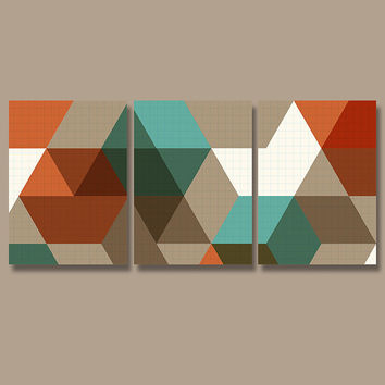 Geometric Wall Art Canvas Artwork Pottery Absract Shapes Orange Brown Turquoise Office Decor Set of 3 Prints Bedroom Bedding Bathroom Three