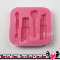 Make-up Beauty SILICONE MOLD Includes Nail Polish Lipstick Eye Shadow and Powder Brush Food Grade