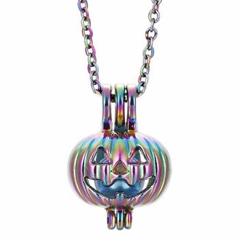 1pc Rainbow Color Halloween Pumpkin Oyster Pearl Cage Necklace Beads Cage Essential Oil Diffuser Locket Pendant Necklace Jewelry