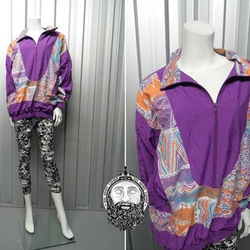 Vintage 80's Abstract Print Bomber Jacket Aztec Jacket Hipster Jacket Crazy Rave 90s Bomber Jacket Nike Purple Bomber Jacket Oversized Fit