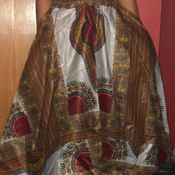 """NWOT African Long Dashiki Maxi /Pockets Ankara Elastic Waist One size fit MOST (Sz M-1X) with pockets/  African material""""/Gray Red Skirt"""