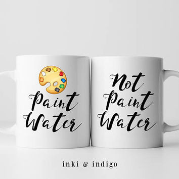 Paint Water Coffee Mug Set, Ceramic Mug, Gift For Painters, Artist Mugs, Paint Mug, 11 Or 15 Ounce Coffee Mug, Not Paint Water, Craft Mug