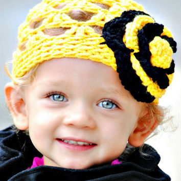Girls Crochet Hat Yellow and Black Spring Fashion Crocheted Baby Beanie Bumble Bee Hats