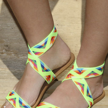 Something New Neon Yellow Tribal Sandals