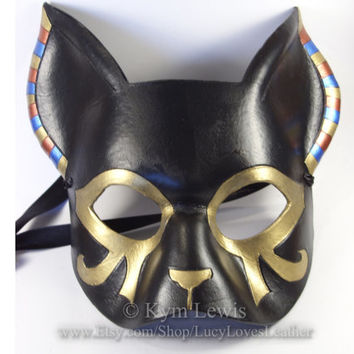 Egyptian Cat, Masquerade Mask, Gold and Black, Cat Goddess, Black Leather, Prom Mask, Cosplay Costume, Fursona Costume