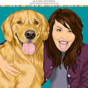 One or Two persons & 1,2,3,4,5 pets. Custom digital illustration. Cartoon portrait. Portraits. Gift Dog Lover. Animal illustration. Dog Art.