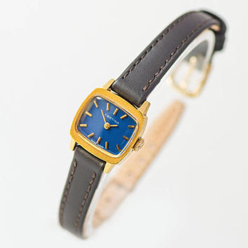 Women's watch Certina vintage. Gold plated women's watch square. Navy face lady watch. Retro girl wristwatch gift. New premium leather strap