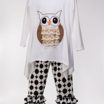 Long Sleeve Tunic w. Lacey Appliquéd Owl & Ruffle Leggings