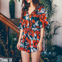 2016 Trending Holiday Casual Party Floral Ethnic Retro Vintage Printed Mini Hot Pants Romper _ 9210