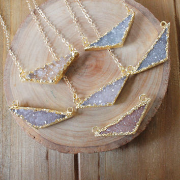 Natural Gold Triangle Druzy Necklace/ Druzy Quart Triangle Necklce/ Quartz Druzy Summer Necklace/ Gemstone Bohemian Necklace (NDP27)