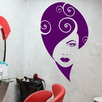 Vinyl Wall Decal Abstract Girl Face Beauty Hair Salon Makeup Stickers (2675ig)
