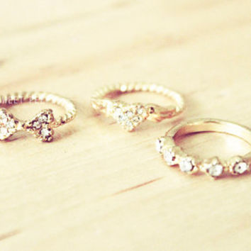 3 Dainty Detailed Knuckle Rings, Midi Rings, Midi Ring, Above Knuckle ring, , twist ring