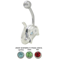 Belly Button Ring Surgical Steel with Sterling Silver Elephant Design - TU251