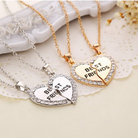 Charming Splice Heart Pendant Best Friend Letter Necklace