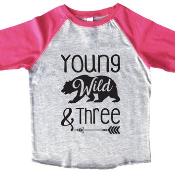 Young Wild And Three BOYS OR GIRLS BASEBALL 3/4 SLEEVE RAGLAN - VERY SOFT TRENDY SHIRT B996