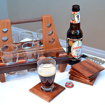 Handmade Wood Mini Brew Beer 6 Pack and Coaster Set  6 - The Woodland  - Mahogany & Bloodwood