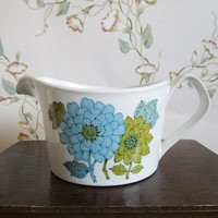 Mid-century 1970s Johnson Brothers England Regency Chrysanthemum Ironstone Creamer Lime Blue English 1960s-1970s Ironstone Made in