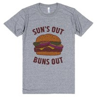 Suns Out Buns Out-Unisex Athletic Grey T-Shirt