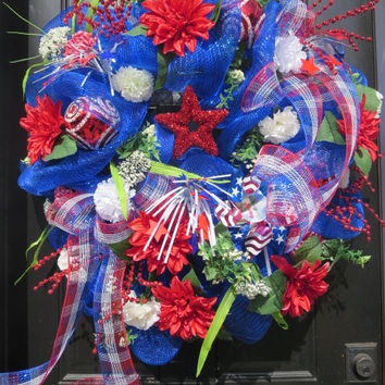 Patriotic Wreath, 4th of July Wreath, Summer Door Wreath, Deco Mesh Wreath, Front Door Wreath, Red White Blue Wreath, Patriotic Stars