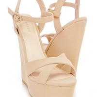 Nude Cross Strap Peep Toe Platform Wedges Nubuck