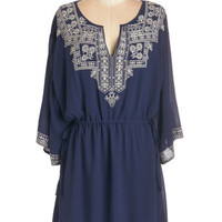 ModCloth Boho Short Length Long Sleeve A-line In Chic Company Dress