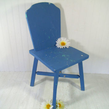 Cornflower Blue Solid Wood Chair Child Size - Vintage Hand Crafted & Painted Toddler Time Out Seat; Old Chippy Paint Doll Display Blue Chair