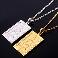 Buddha Necklace Your Choice of  Gold or Platinum Plated Rectangular Pendant Eastern Spiritual Taoism
