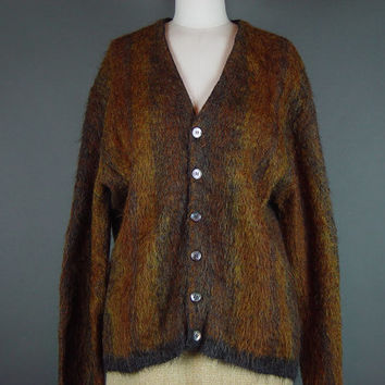 50s 60s Cardigan Mohair Wool Sweater Jumper Brown Button Up