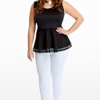 Plus Size Athena Mesh Peplum Top | Fashion To Figure