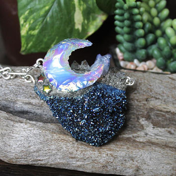 Aura Moon Necklace, Cobalt Blue Aura Quartz Druzy Necklace, Angel Aura Jewelry, Celestial, Galaxy, Hippie Style Festival Fashion, Boho Chic
