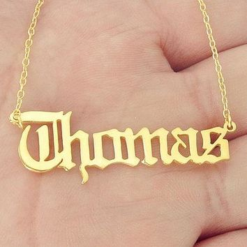 Gold Name Necklace Personalized Nameplate Pendant Old English style Name Jewelry