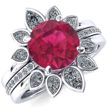 Flora Round Lab-Created Ruby 1/2 Eternity Accent Diamond Ring