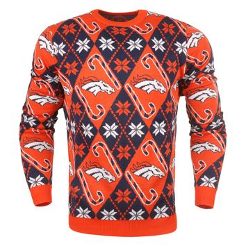 Denver Broncos - Mens Official NFL Candy Cane Repeat Crew Neck Sweater