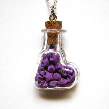 Micro Origami Necklace, Purple Mini Lucky Paper Stars in Heart Glass Vial Bottle Pendant, Kawaii Valentine's Day Gift