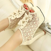 lovely Sexy elegant lace bowknot hollow high-heeled shoes sandals